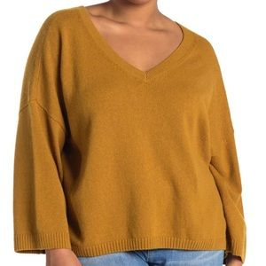 NWT Madewell Double-V Pullover MUSTARD sweater 2x